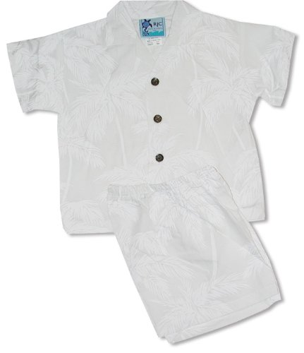 Rayon Cabana Set - Palm Trees Boy's Hawaiian Aloha Camp Shirt & Matching Shorts 2PC Set in Wedding White - 18 Months