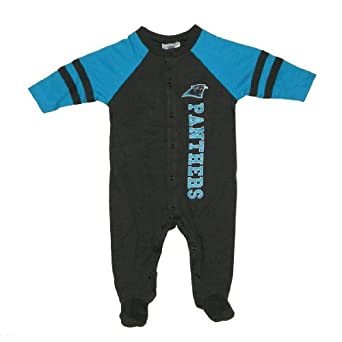NFL Carolina Panthers Baby / Infant Comfortable Fit One-Piece Footed Long Sleeve Bodysuit / Romper / Onesie - Black & Blue (Size: 0-3 )