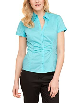 Comma Damen Bluse Regular Fit 81.304.12.1886 BLUSE KURZARM, Gr. 36, Türkis (6140 dark mint)