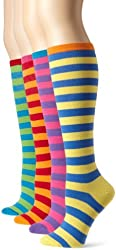 K. Bell Socks Women's Mix It Up Thin Stripes KH 4 Pack