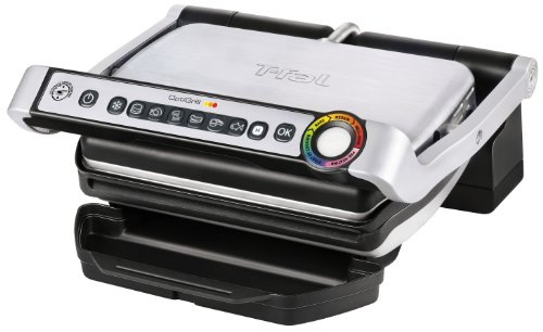 T-fal GC702 OptiGrill Stainless Steel Indoor Electric Grill with Removable and Dishwasher Safe plates,1800-watt, Silver (Steel Grill Plate compare prices)