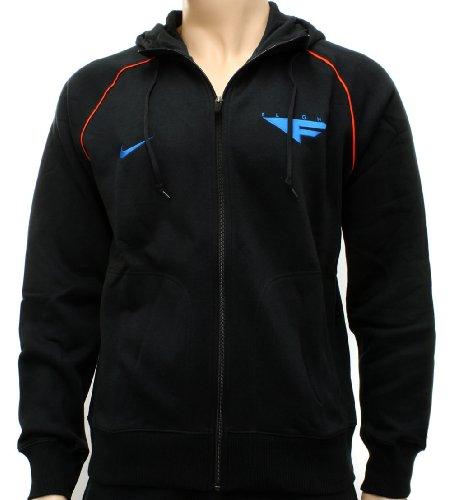 Nike Flight Mens Black/Blue Basketball Zip Hooded Sweatshirt Hoody 3XL