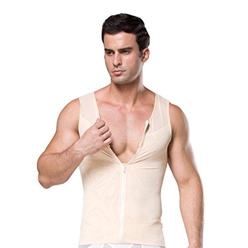 ZEROBODYS Shirt netto Zipper Addome Body Shaper dimagrante uomo elastico Sculpting carro armato della maglia che modella la maglia SS-M09 (Beige, XL)