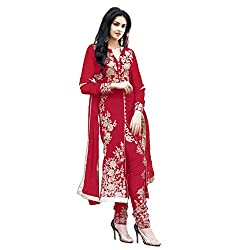 Decent World Red Georgette Bridal Dress Material