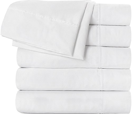 Utopia Bedding Flat Sheet 6 Pack (Twin, White) Brushed Microfiber - Soft, Breathable, Iron Easy, Wrinkle, Fade Stain Resistant - Hotel Quality