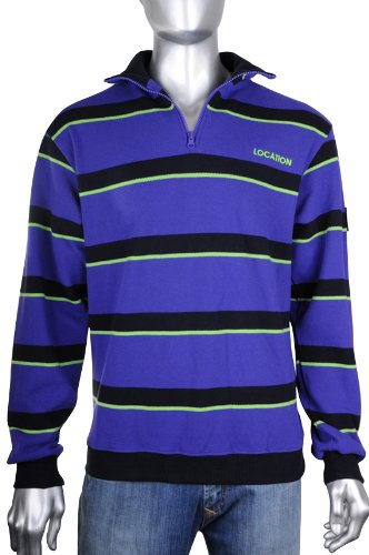 Mens Location Heavy Pique 100% Cotton Breathable Zip Stripe Knitted Jumpers M
