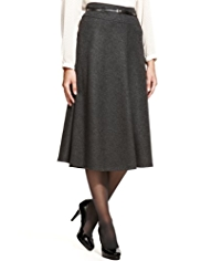 M&S Collection New Wool Rich Flared Hem Long Flannel Skirt with Belt