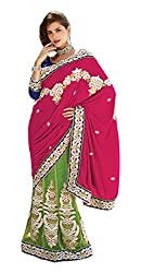 Jiya Fashion Women's Net Lehenga Choli (Green and Pink)