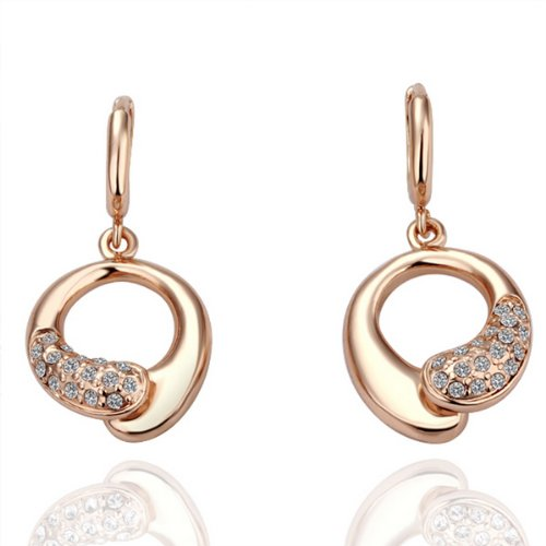 18K Rose Gold Plated Crystal Accent Circle Knot Dangle Earrings