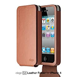 elago S4 Handmade Genuine Leather for iPhone 4/4S - Folder type + HD Professional screen film included