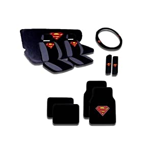 15pcs Superman Car Seat Covers Set with Heavy Duty Carpet Floor Mats, Shoulder Pads and Steering Wheel Cover by BDK