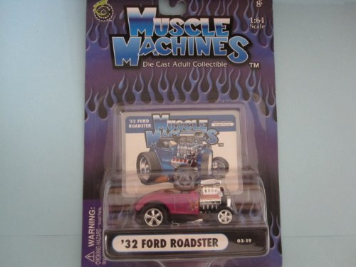 32 Ford Roadster Lavender with Head Scoop By Muscle Machines 1:64 Scale