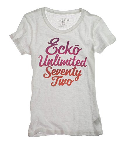 Marc Ecko Womens Ombre Glitter Crew Neck Graphic T-Shirt