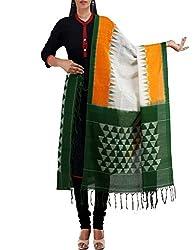 Unnati Silks Women Cream-Green Pure Handloom Pochampally Cotton Dupatta