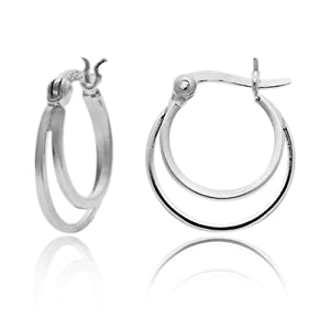 "Amazon.com: Sterling Silver Tarnish-Free Small Double Hoop Earrings (0.7"" Diameter): Jewelry"