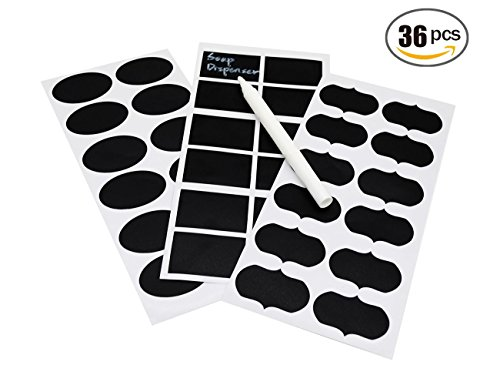 36pcs Chalkboard Labels, Premium Waterproof Peel and Stickers for Jars, Pantries, Craft Rooms,Food Storage, Pantry, Spice Jars & Freezer( with a free chalk ink marker) (Freezer Jam Kit compare prices)