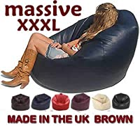 Xxx-l Beanbags Huge Mega Size Brown Bean Bag 16cuft Faux Leather Beanbag Gaming Chair from BEAUTIFUL BEANBAGS LTD