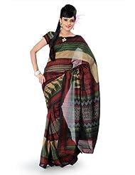 Designersareez Women Bhagalpuri Silk Printed Multicolor Saree With Unstitched Blouse(826)