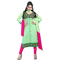 Fabfirki Green and Pink Unstitched Cotton Salwar Suit