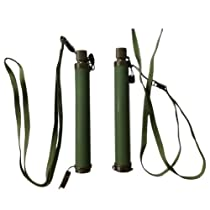 Set of 2 German Army Military Green Emergency Soldier Water Filter 99.99999 Purification Life Straw Ultralight 1.65oz 15 microns NO CHEMICALS
