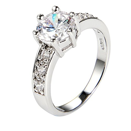 Amdxd Jewelry 18K Gold Plated Women'S Rings Shining Classic Crown White Us Size 8