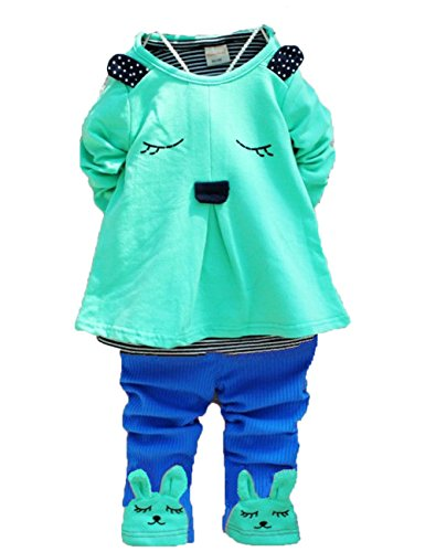 2014 Autumn Baby Girls Kid Bunny Rabbit Long Sleeve Shirt Clothes Pants Outfit Suit (1-2 Years, Green)
