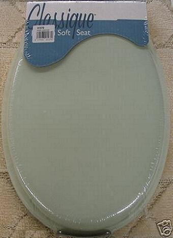 Toilet lid and tank covers ginsey classique elongated cushion soft padded toilet seat thyme mint - Commode classique ...