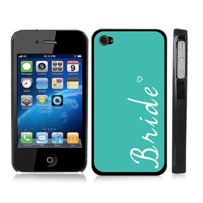 Just Married Bride Turquoise Snap-On Cover w/ Black Hard Carrying Case for iPhone 4/4S