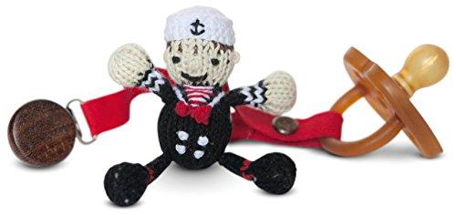Finn + Emma Organic Cotton Baby Boy Rattle Pacifier Holder - Graysen the Navy Sailor - 1