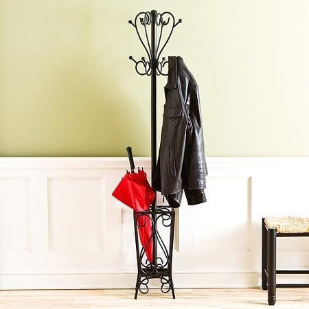 Attractive Scrolled Coat Rack and Metal Umbrella Stand, Black