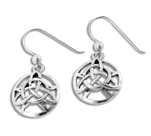 The Druid's Amulet - Triquetra Knot and Pentacle Sterling Silver Earrings