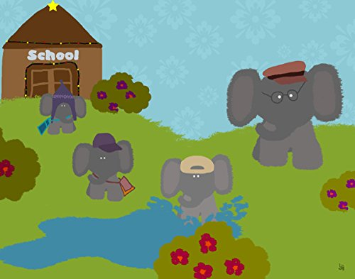 Green Leaf Art Elephants' School Canvas Art
