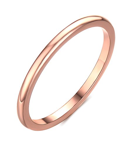 Vnox 1.5mm Women's Stainless Steel Plain Band Wedding Ring,Rose Gold Size 6 (Rose Tone Stainless Steel Rings compare prices)