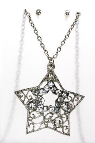 Silver Star Clear Austrian Crystal Necklace And Earrings Set
