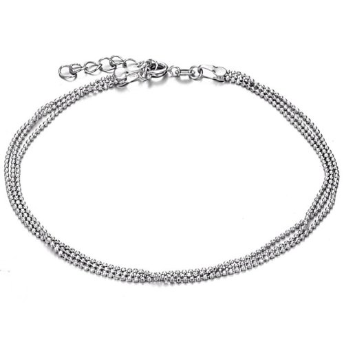 bigsoho Little Beads Link Three Simple Chains White Gold Plated Adjustable Foot Chain Men/Women Anklet Bracelet