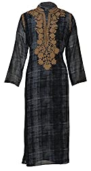 Sumona and Me Women's Georgette Kurta (Black, Blue and Brown, 42)