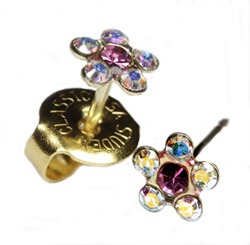 "Фото Ear Piercing Earrings Rainbow Crystal Daisy Flower Gold Studs ""Studex System 75"" Hypoallergenic"