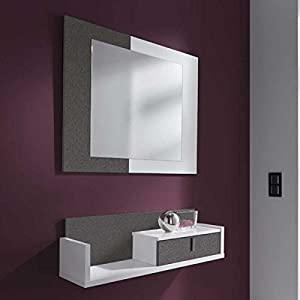 meuble d 39 entr e miroir design amandine atylia couleurs gris blanc mati res m lamine aluminium. Black Bedroom Furniture Sets. Home Design Ideas