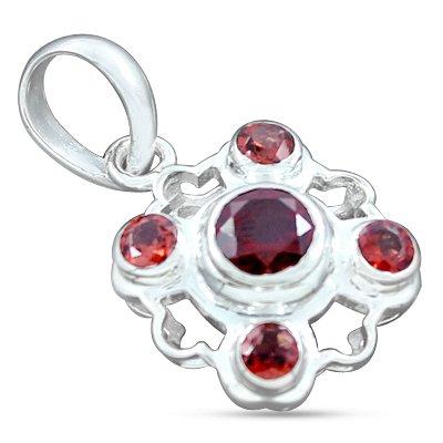 925 Sterling Silver Red Garnet Natural Gemstone Antique Style Designer Handmade Beautiful Charming Pendant Jewelry