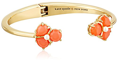 "kate spade new york ""Crystal Cluster"" Open Hinge Coral Cuff Bracelet"