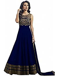 Purva Art Womens Just Launch Blue Embroidery Work Party Wear Long Gown (PA_CBG_652_Semi-Stitched)