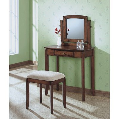 Vanity Set in Walnut with Beige Stool