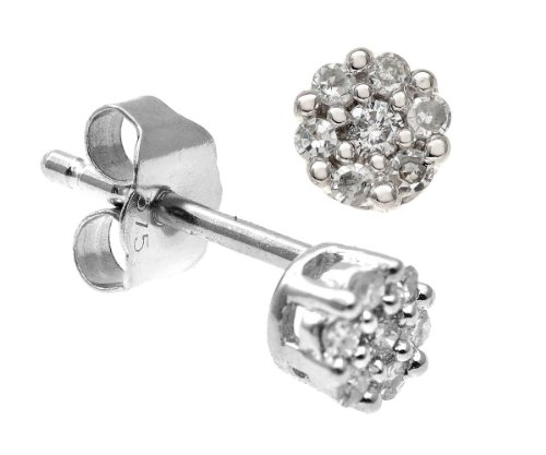 0.1 Carat J- I2 Diamond Earrings in 9ct White Gold