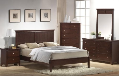 Full Size Bedroom Set - Contemporary Deep Brown Finish