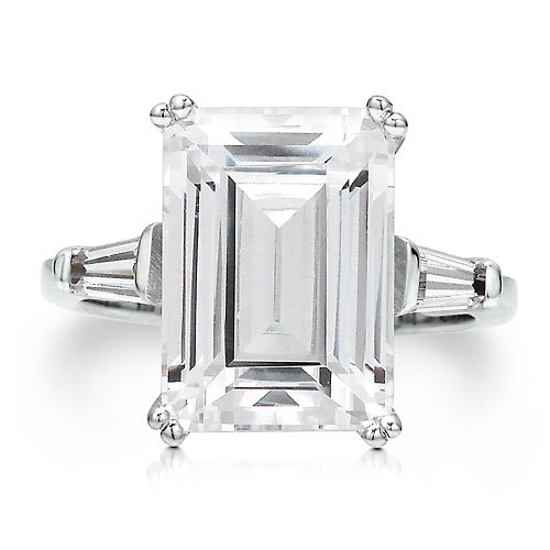 Sterling Silver 925 Huge Emerald Cut Cubic Zirconia Solitaire Ring - Nickel Free Engagement Wedding Ring Size 4