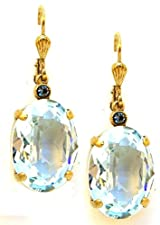 Catherine Popesco 14K Gold Plated Oval Ice Blue Swarovski Crystal Dangle Earrings