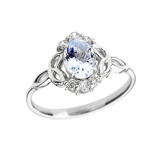 Aquamarine-and-Diamond-14k-White-Gold-Trinity-Knot-Proposal-Ring