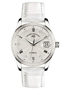 André Belfort 410158 - Reloj analógico de mujer automático con correa de piel blanca - sumergible a 50 metros