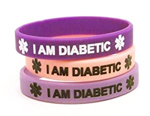 Lot of 3 Silicone Diabetes Medical Alert Bracelets, Light and Dark Purple and Pastel Pink, X-Small Child Fits Ages 4 to 6