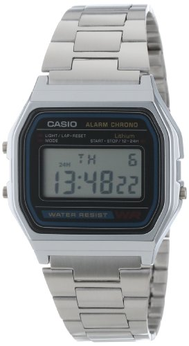 Casio Men's Alarm Chrono A158WA-1 Silver Stainless-Steel Resin case Quartz Watch with Digital Dial